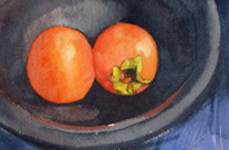 "Persimmon, 3""x5"", Watercolor"