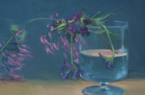Purple Flowers, 9″x12″, Oil